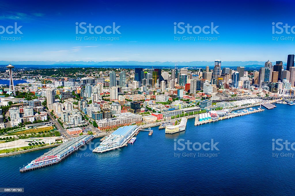 Downtown Seattle Skyline From Puget Sound stock photo