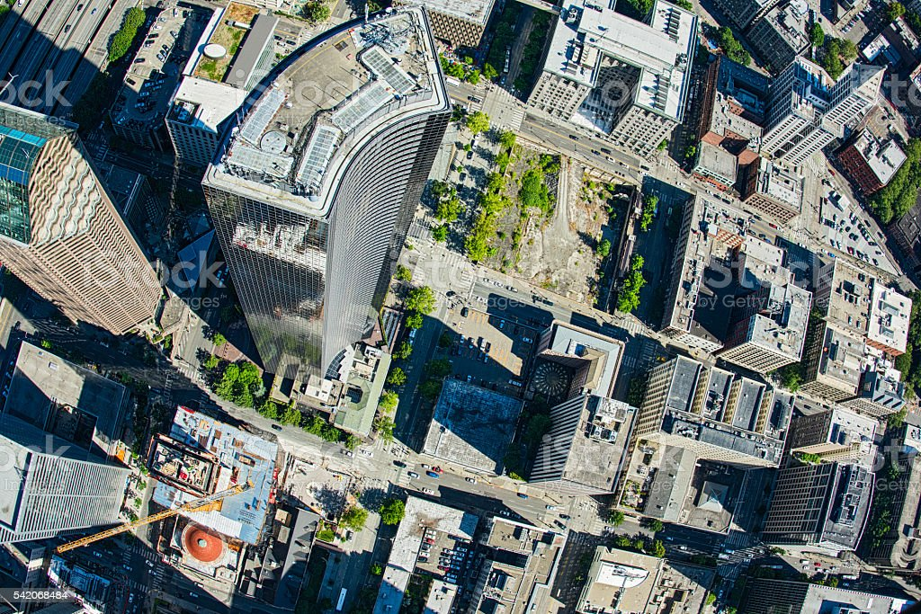 Downtown Seattle Skyscraper Aerial View stock photo