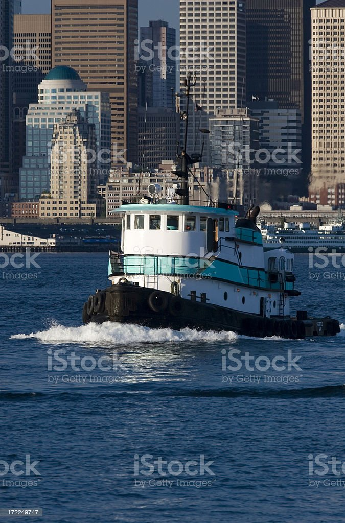 Downtown Seattle Waterfront and Tugboat royalty-free stock photo