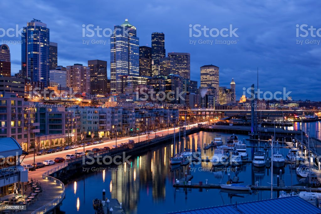Downtown Seattle Waterfront Cityscape royalty-free stock photo