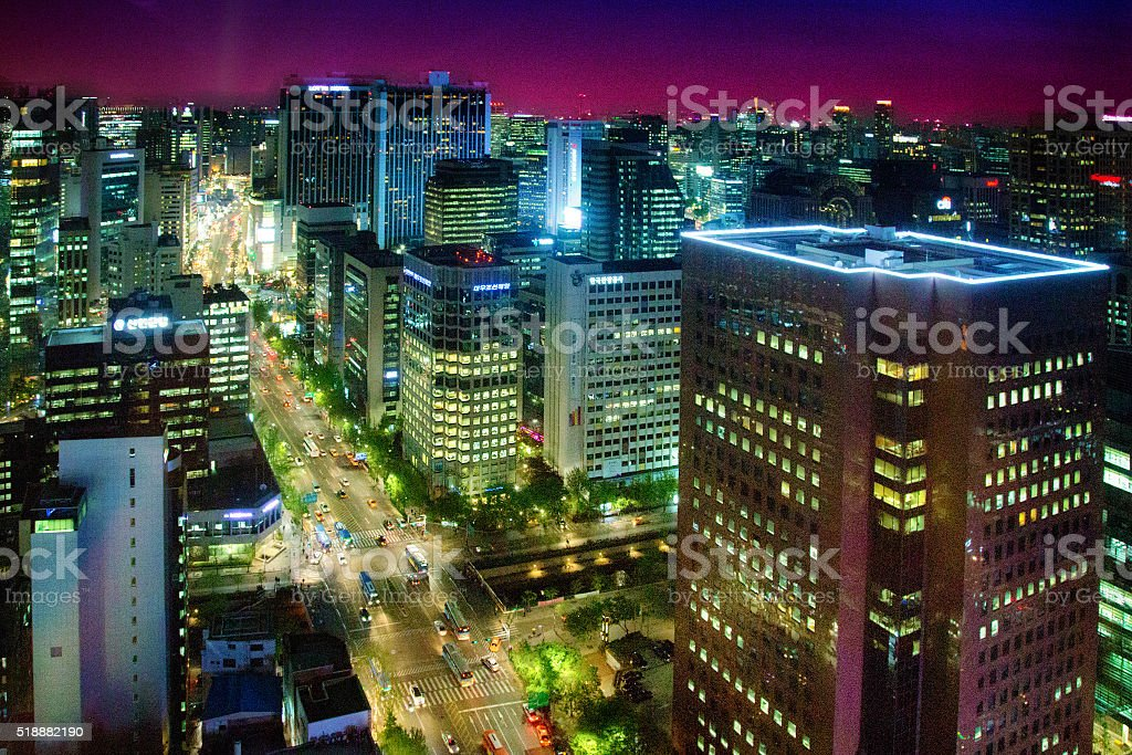 Downtown Seoul aerial Night view stock photo
