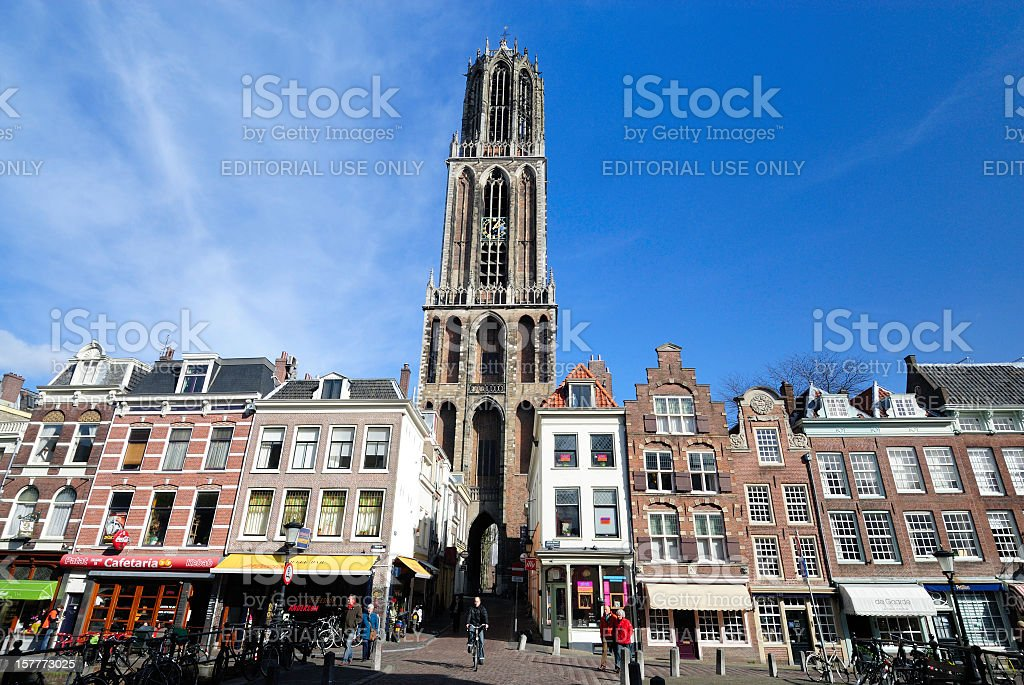 Downtown shopping street and Dom Tower in Utrecht stock photo