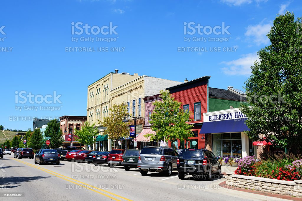 Downtown shops,  Grand Haven, Michigan stock photo