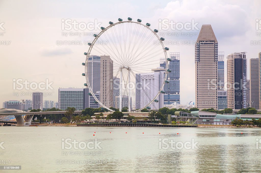 Downtown Singapore as seen from the Marina Bay stock photo