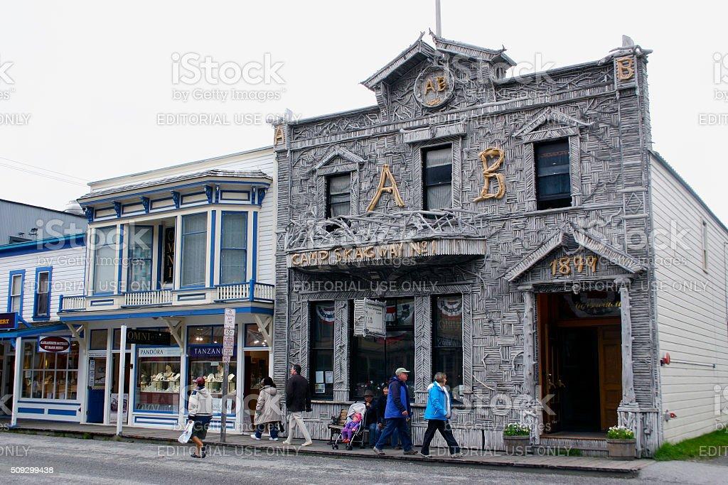 Downtown Skagway, Alaska stock photo
