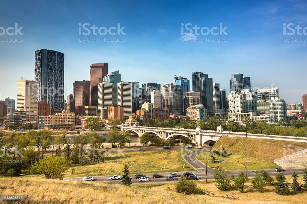 Downtown skyline Calgary Alberta stock photo