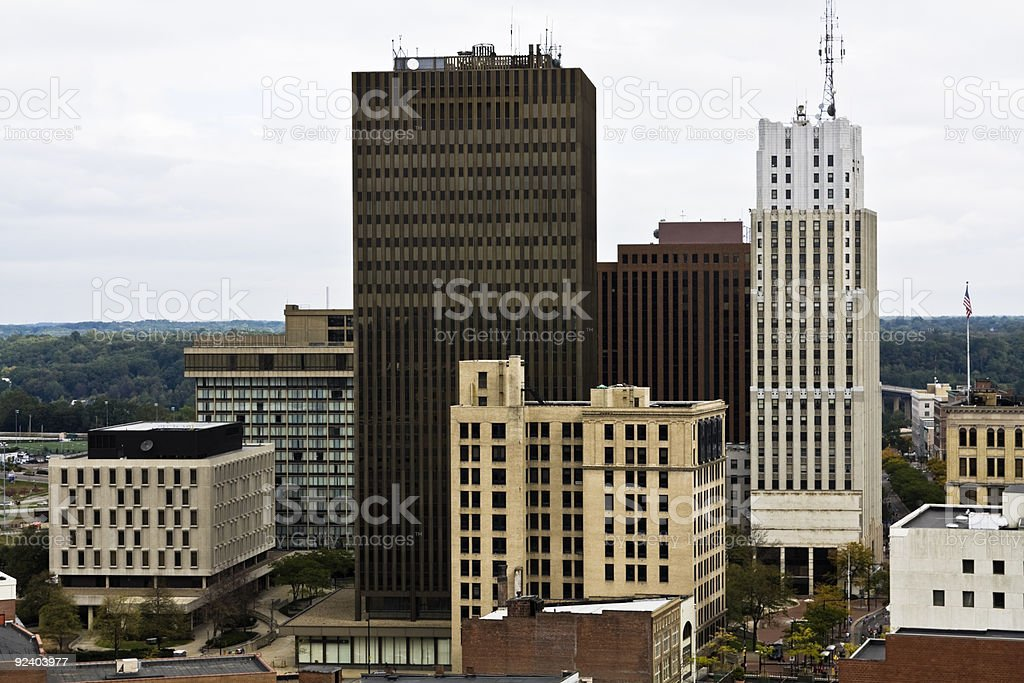 Downtown skyline of Akron, Ohio on a cloudy day stock photo
