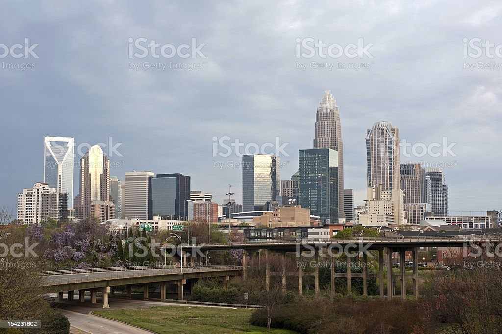 Downtown skyline of Charlotte, North Carolina stock photo
