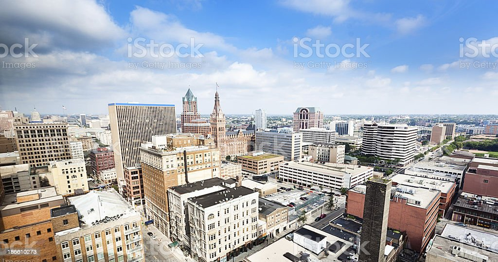Downtown Skyline of Milkaukee Wisconsin stock photo