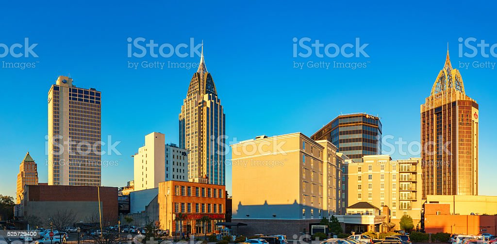 Downtown Skyline of Mobile Alabama USA stock photo