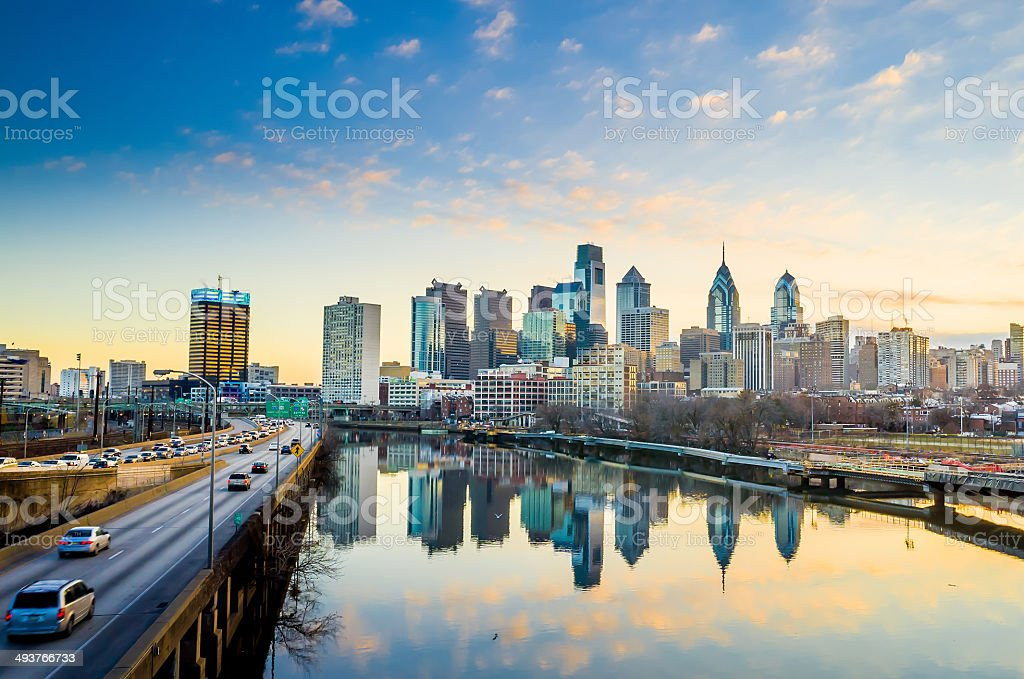 Downtown Skyline of Philadelphia, Pennsylvania. stock photo