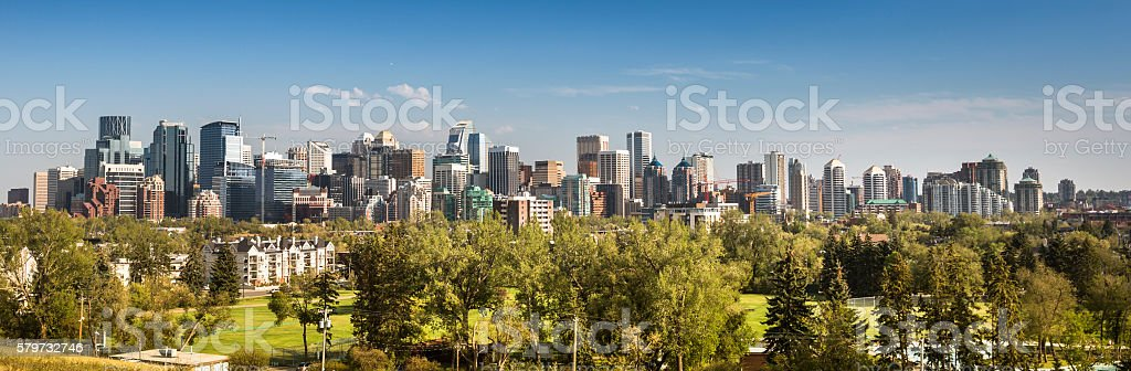 Downtown skyline panorama Calgary Alberta stock photo