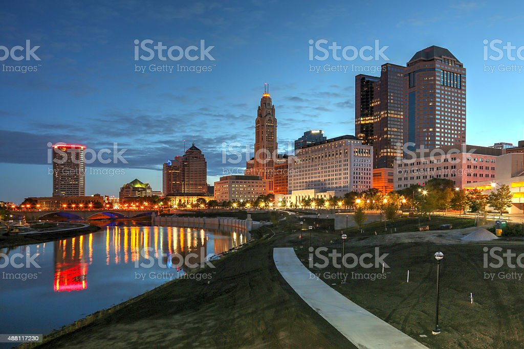 downtown skyline scene at dawn stock photo