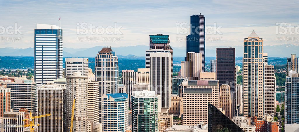 Downtown skyscrapers cityscape crowded highrises business towers Seattle Washington USA stock photo