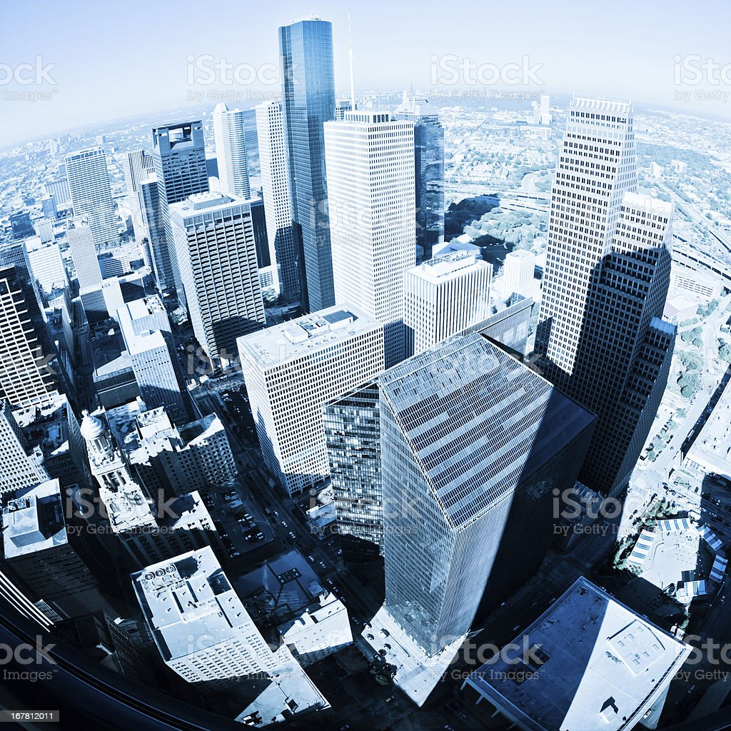 Downtown Skyscrapers in Houston Aerial View stock photo