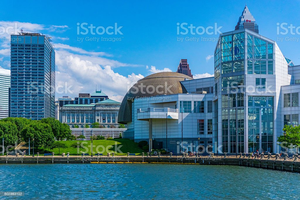 Downtown skyscrapers of Cleveland skyline,lake Erie,OH(P) stock photo