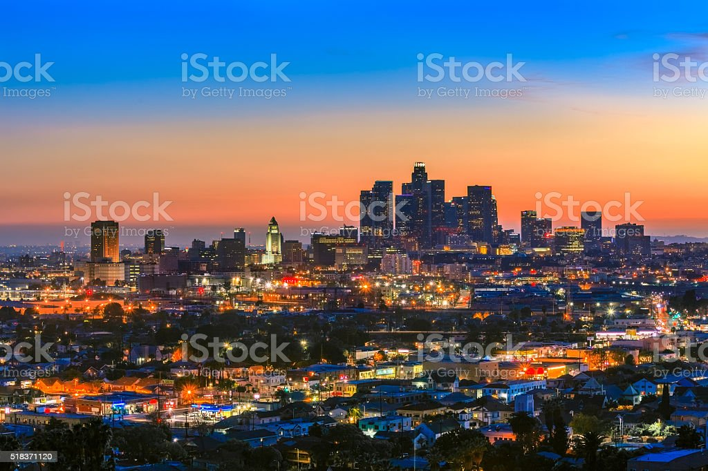 Downtown skyscrapers of Los Angeles skyline, CA stock photo