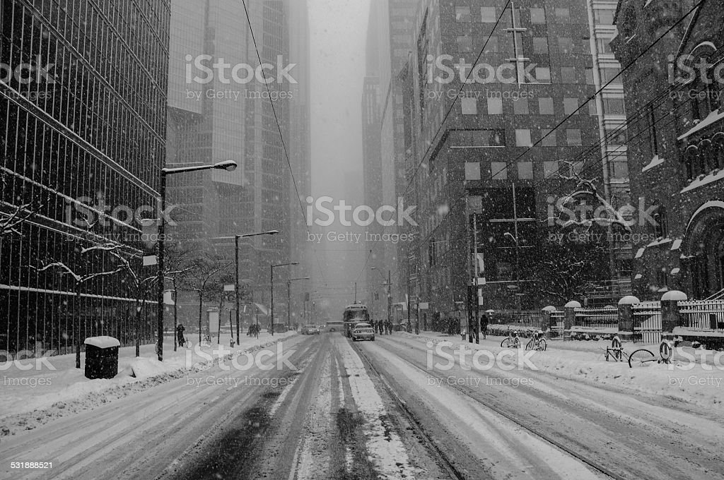 downtown snowstorm stock photo