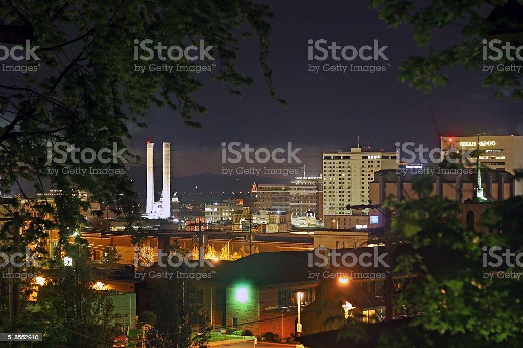 Downtown Spokane, Washington at Night stock photo