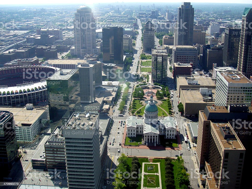 Downtown St. Louis from the Arch stock photo