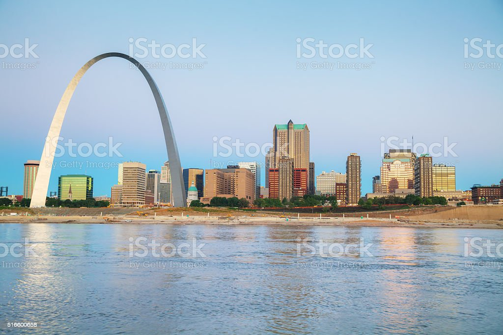 Downtown St Louis, MO with the Gateway Arch stock photo