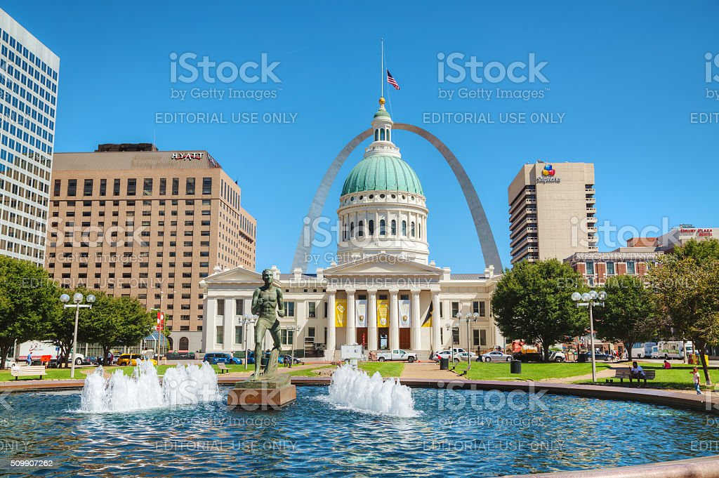 Downtown St Louis, MO with the Old Courthouse stock photo