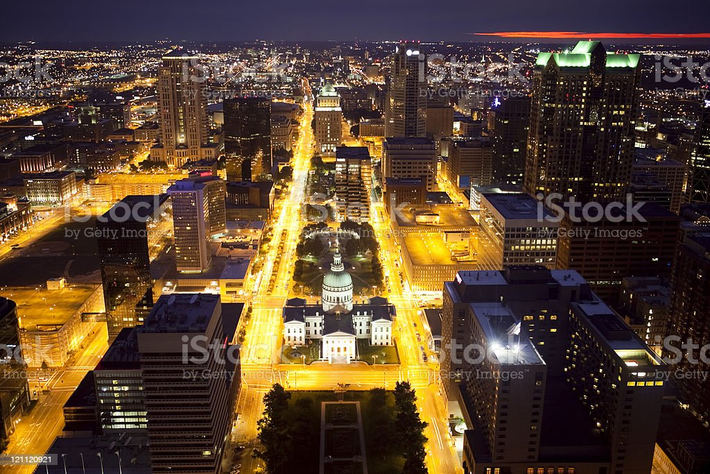 Downtown St. Louis Skyline at Night stock photo