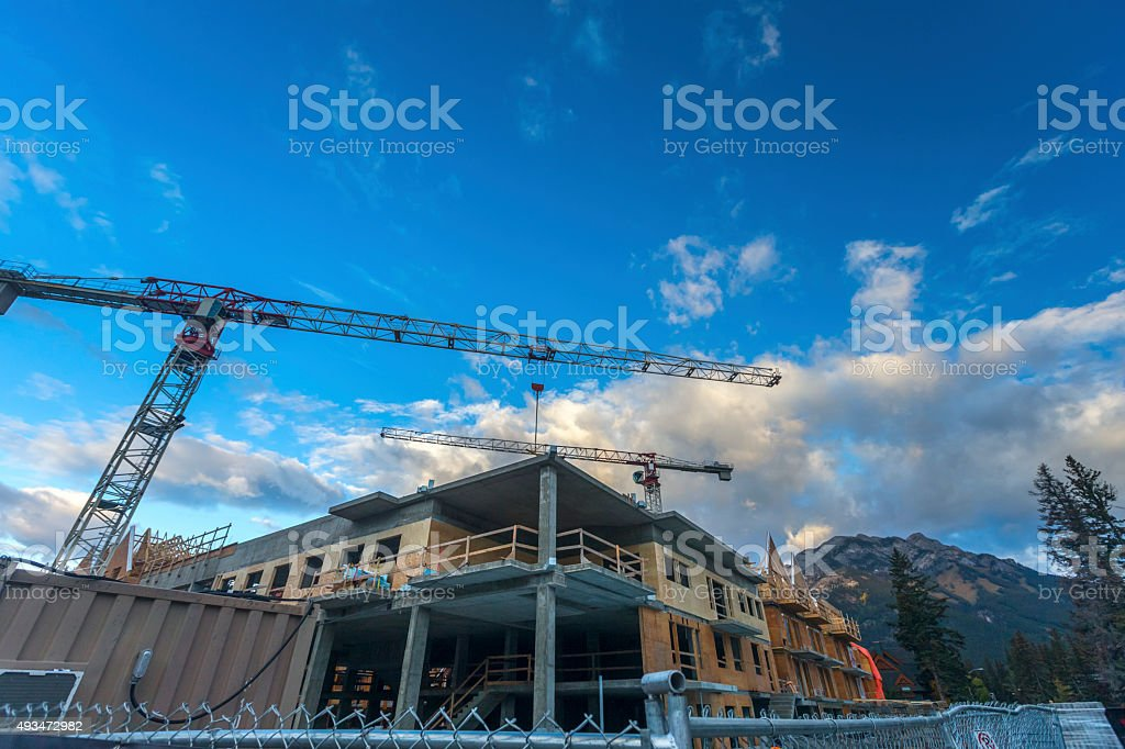 Downtown Streets of Banff National Park under construction Canada stock photo