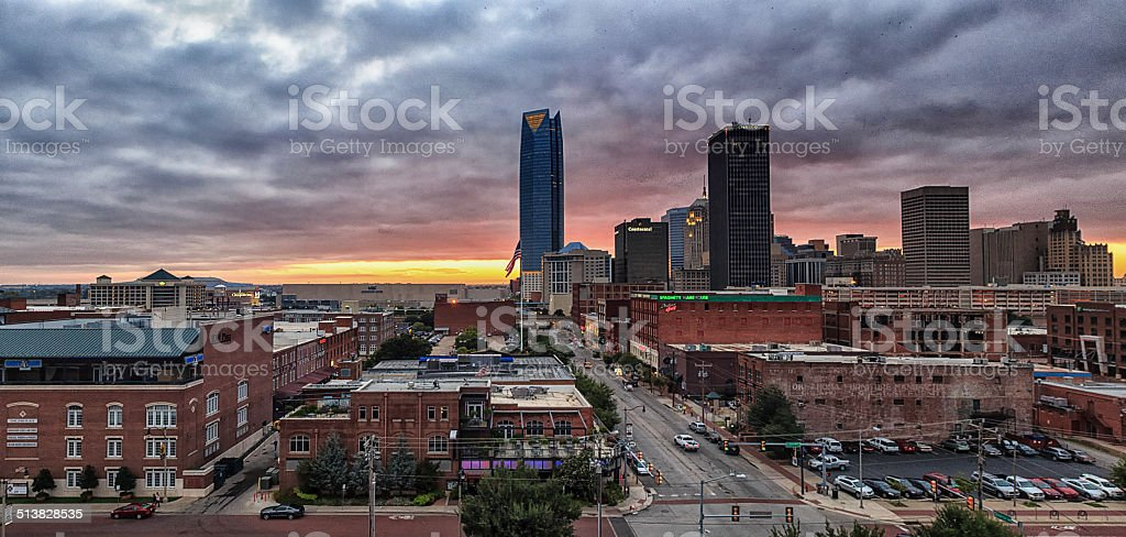 Downtown sunset stock photo