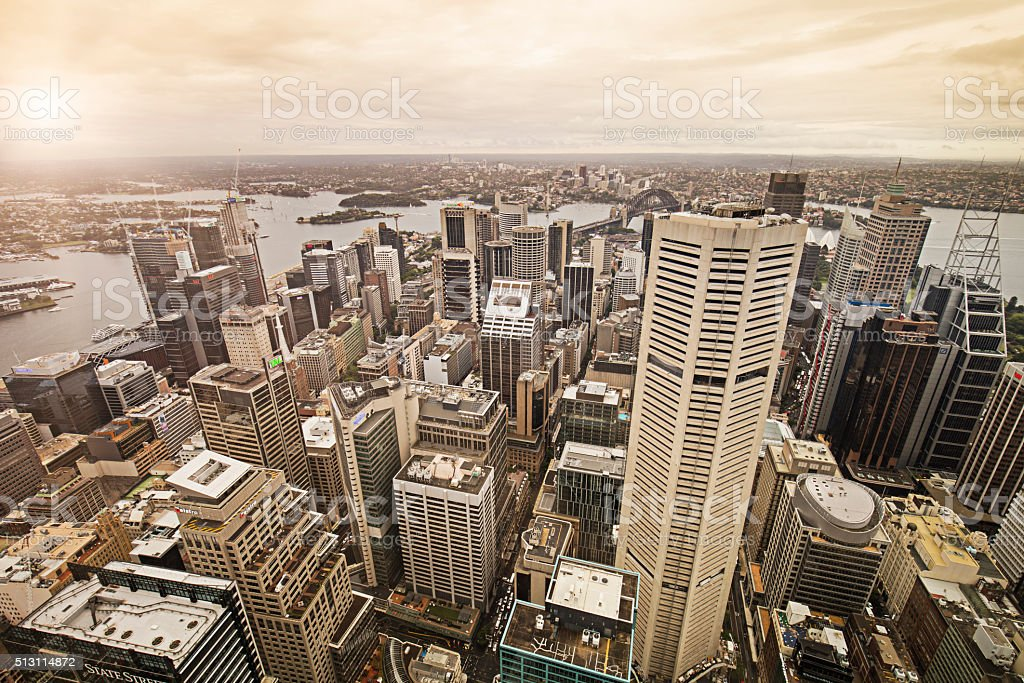 Downtown Sydney at sunset stock photo
