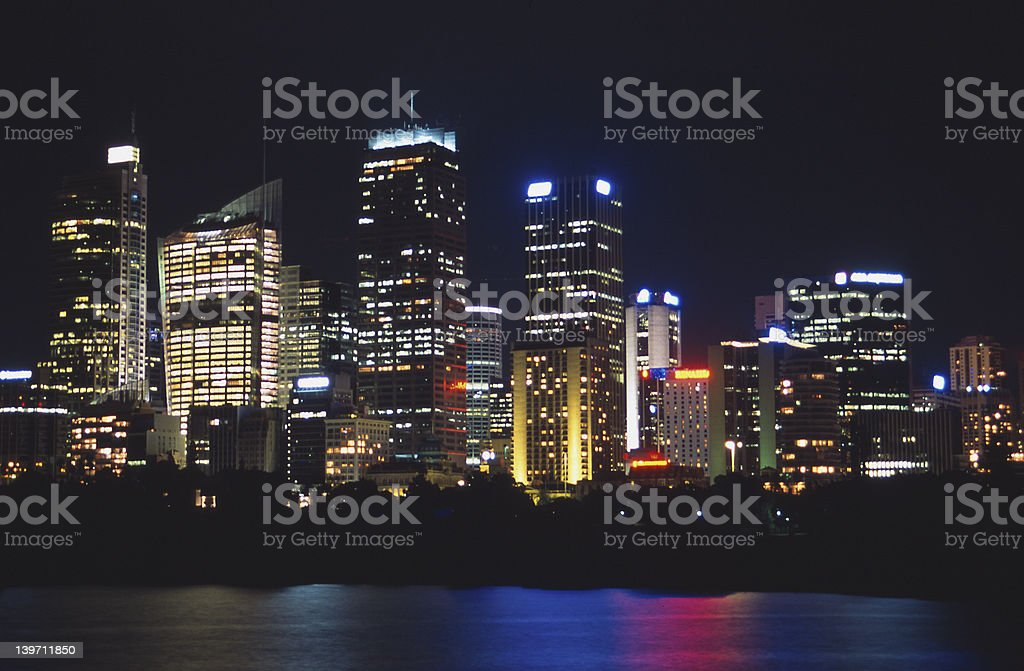 Downtown Sydney by night stock photo