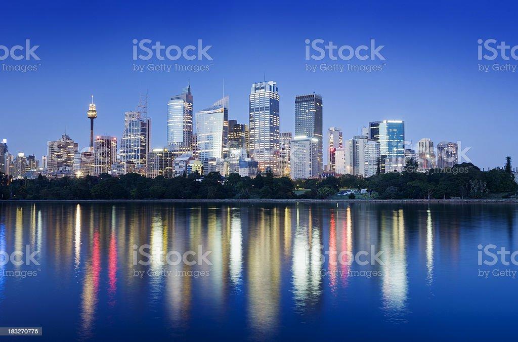 Downtown Sydney City Skyline at Night Australia royalty-free stock photo