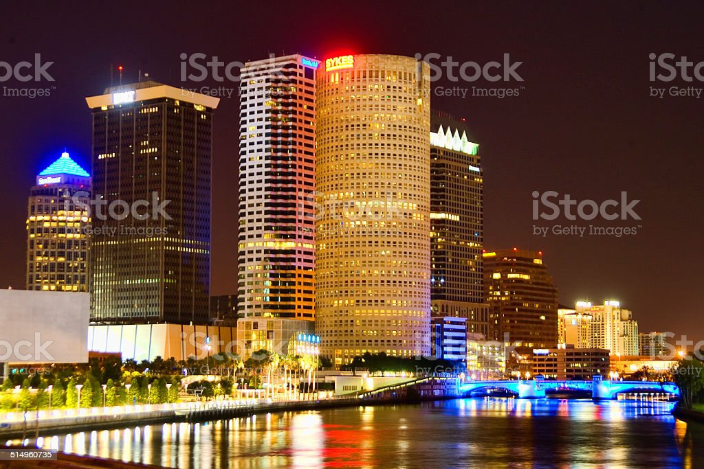 Downtown Tampa After Dark stock photo