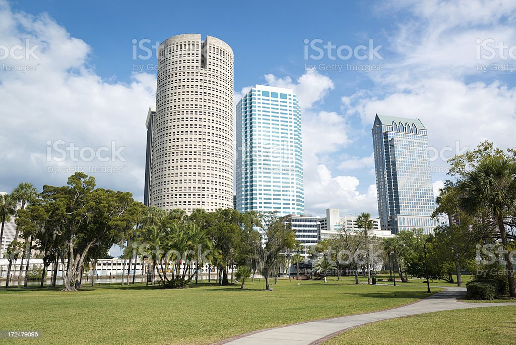 Downtown Tampa from Plant Park stock photo