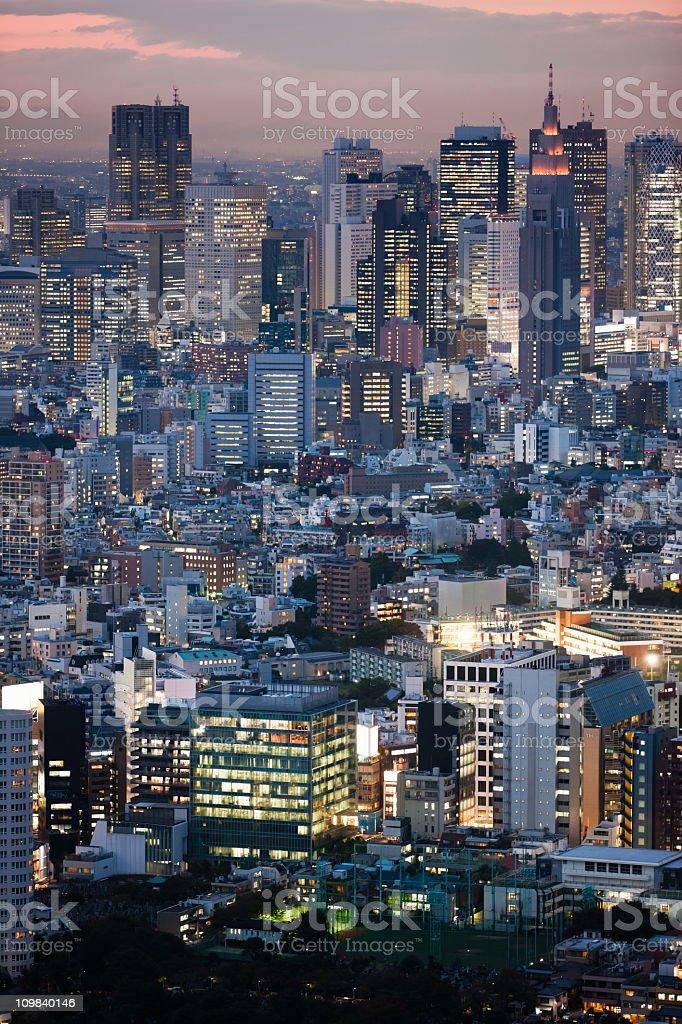 Downtown Tokyo Twilight Cityscape Japan stock photo