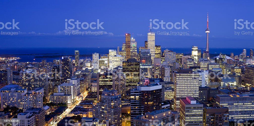 Downtown Toronto at dusk, Canada stock photo