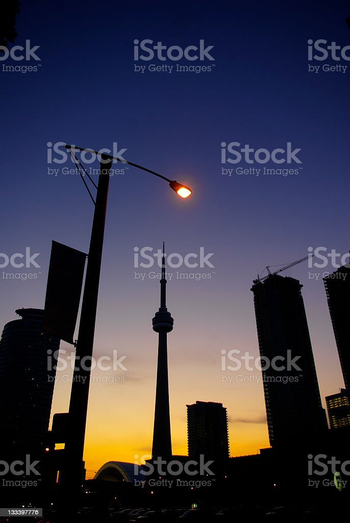 downtown toronto city silhouette with CN tower royalty-free stock photo