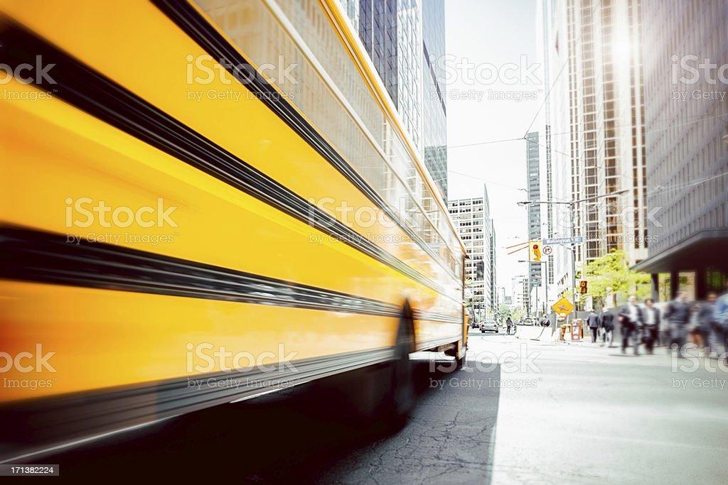 Downtown Toronto School Bus royalty-free stock photo