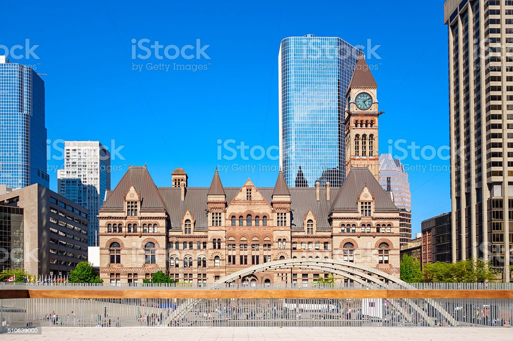 Downtown Toronto with the Old City Hall stock photo