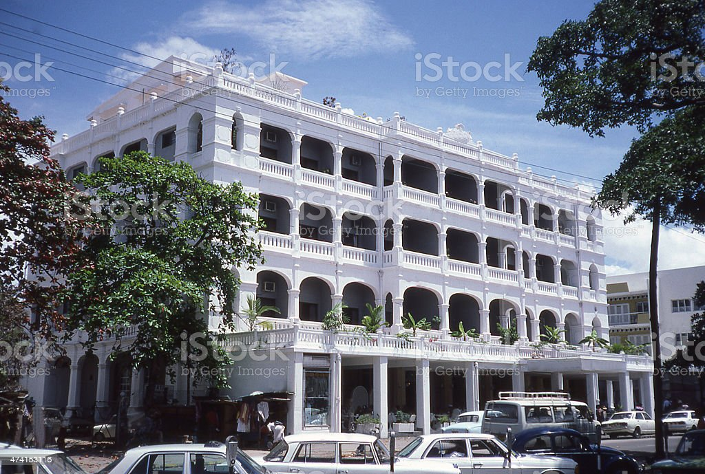 Downtown Traffic and Historic Buildings Mombassa Kenya East Africa stock photo