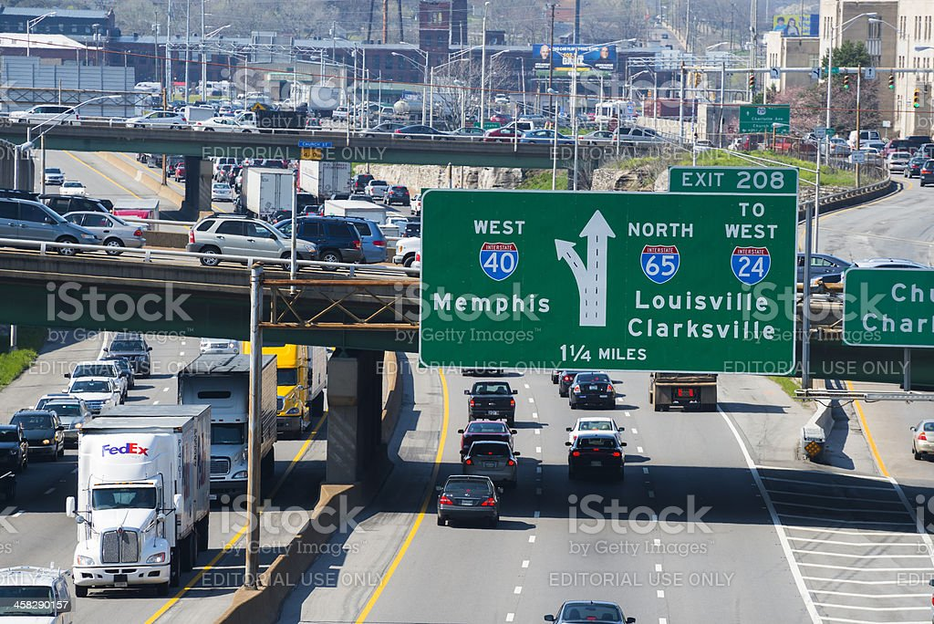 Downtown traffic congestion in Nashville stock photo