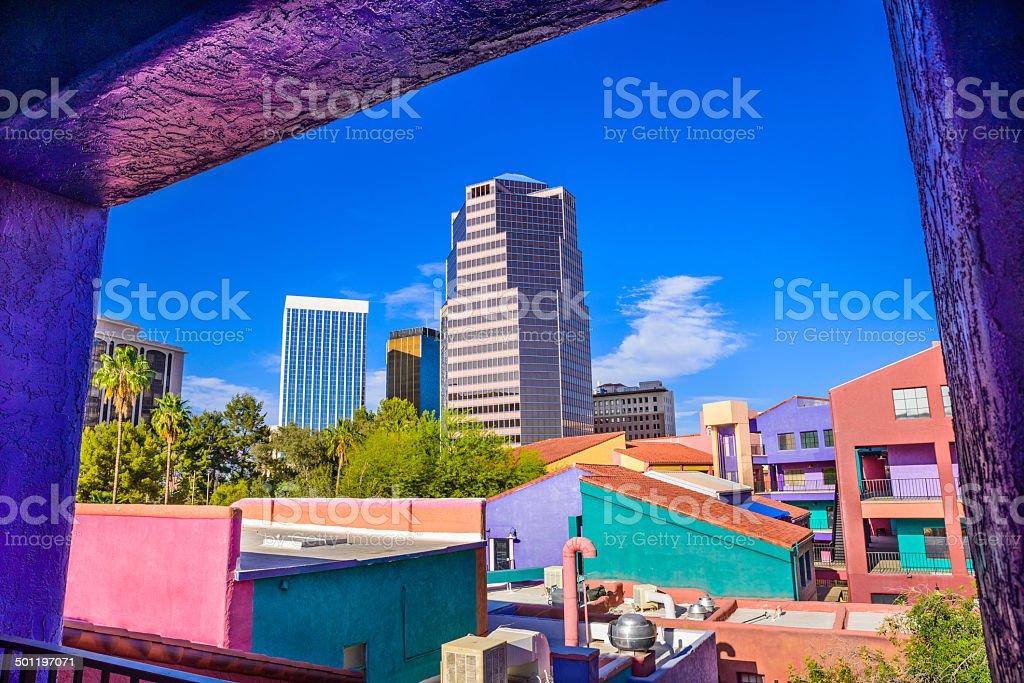 Downtown Tucson Arizona La Placita Village, Skyscrapers - window view stock photo