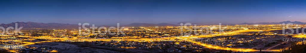 Downtown Tucson from Sentinel Peak Park at Twilight stock photo