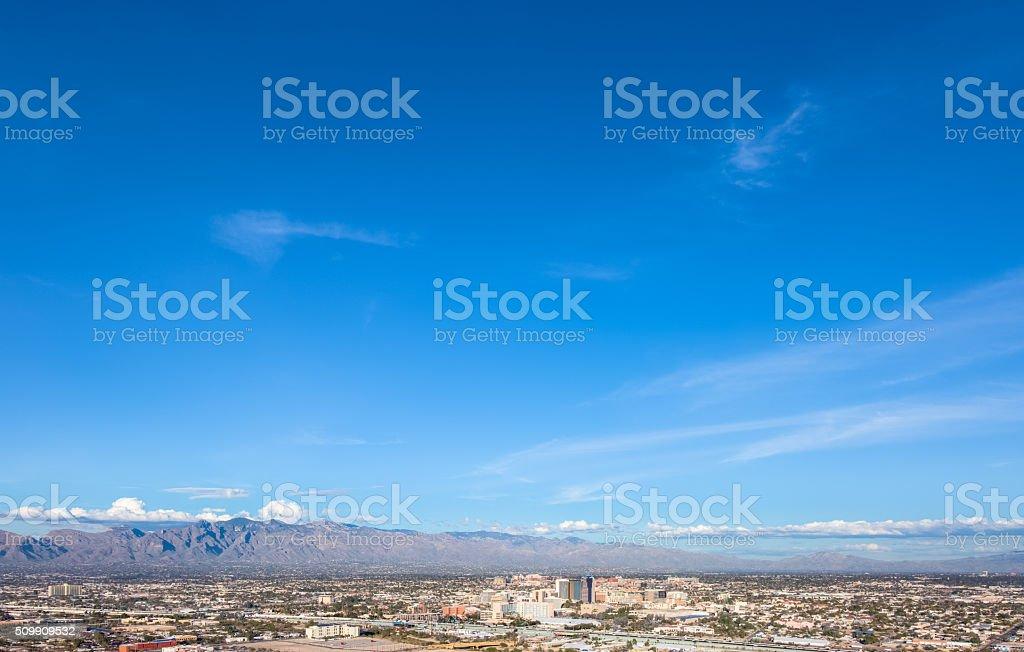 Downtown Tucson from Sentinel Peak Park under Brilliant Blue Sky stock photo