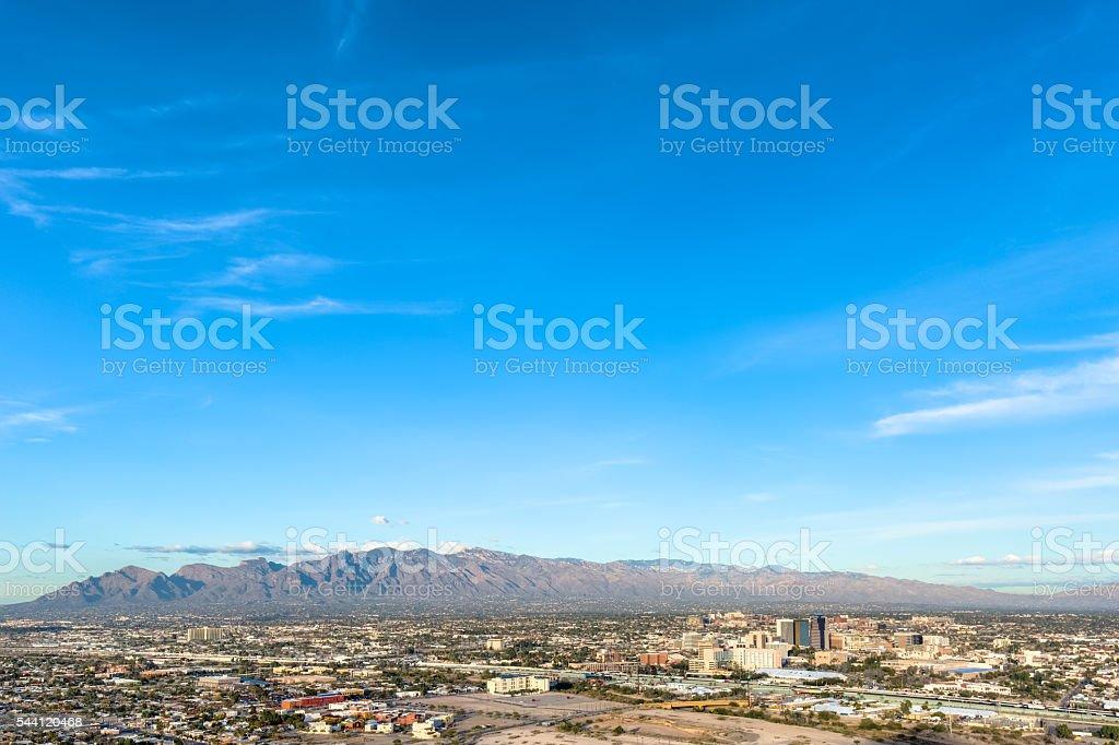 Downtown Tucson from Sentinel Peak Park under Brilliant Sky stock photo