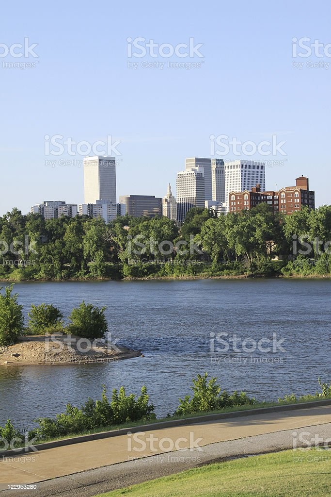 Downtown Tulsa from the West Bank royalty-free stock photo