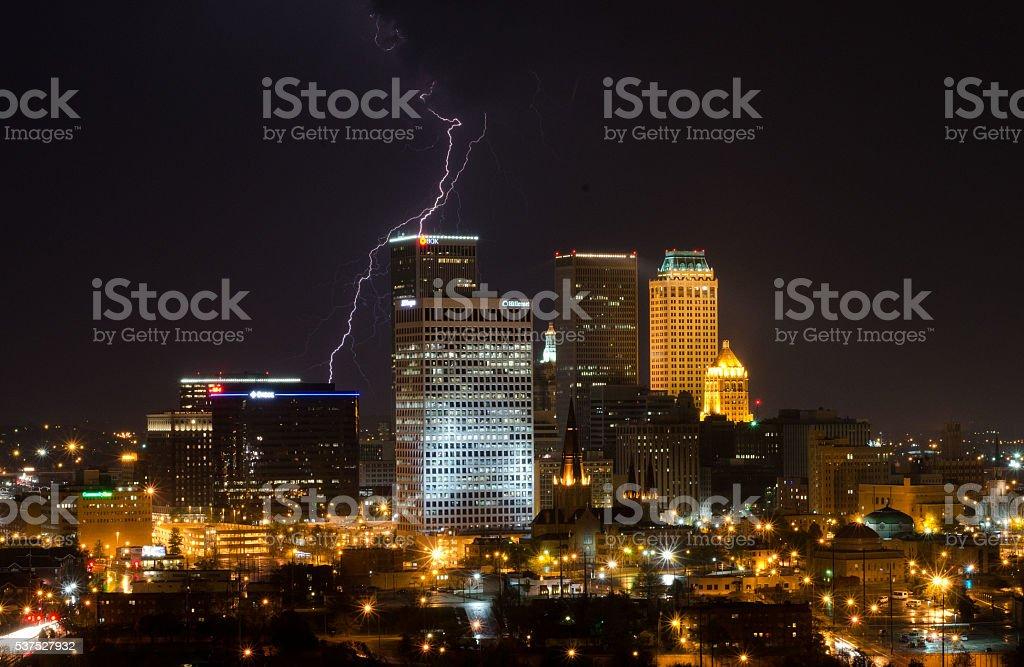 Downtown Tulsa Lightning Strike stock photo