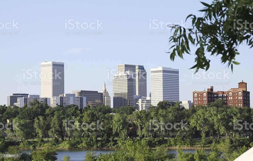 Downtown Tulsa, Oklahoma Skyline over Arkansas River royalty-free stock photo
