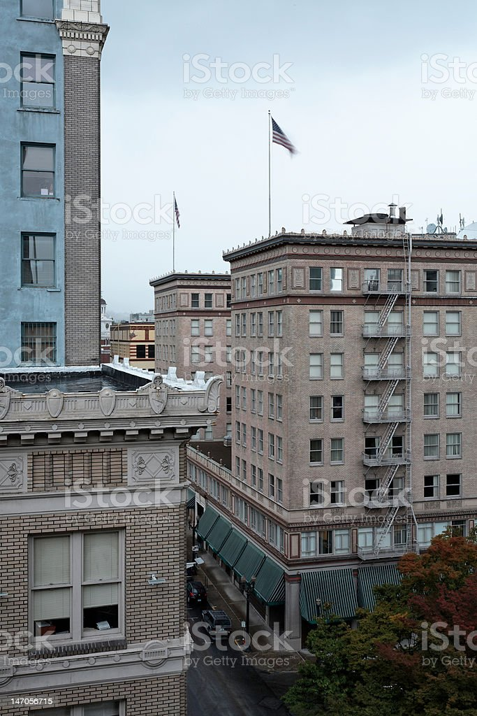 Downtown Urban midrise commercial buildings, Portland, Oregon royalty-free stock photo
