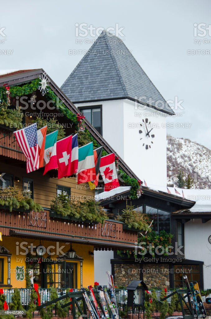 Downtown Vail Clock Tower and Gasthof Gramshammer stock photo